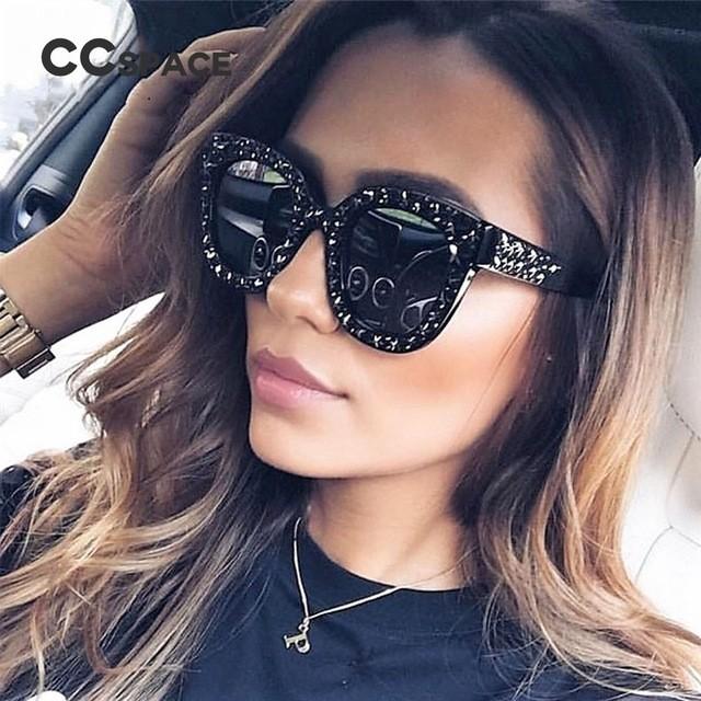 Faddish Star Rivets & Bling Crystals Fashion Sunglasses