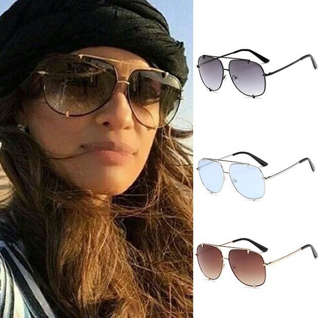 Sleek aviator sunglasses double bridges gradient lenses 1d058289b1