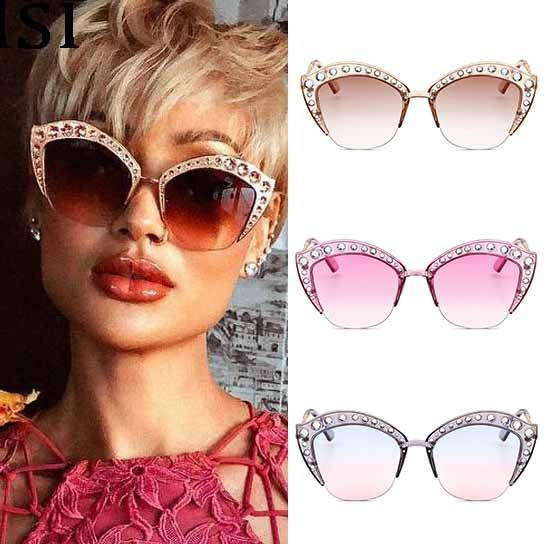 e9d068add9ee Retro Cat s Eye Sunglasses Oversize Rhinestone Shades
