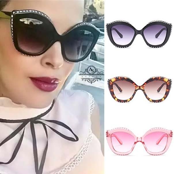 136b87cbb34a Oversized Rhinestones Cat Ear Sunglasses for Women · Zoom