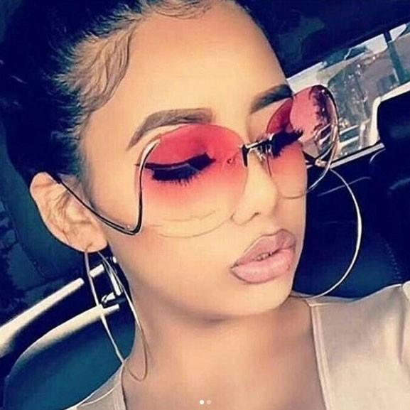 oversize rimless sunglasses
