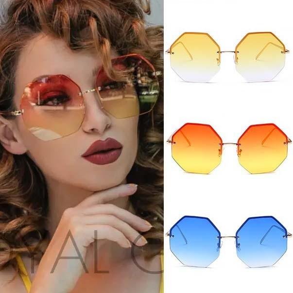 08cc1f04197 Translucent lens rimless octagon oversize sunglasses