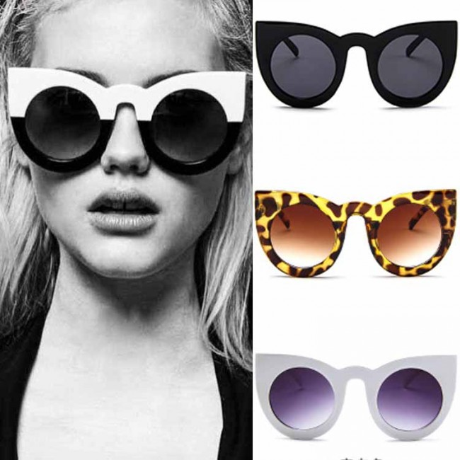 6cfe78044b0 Round Cat Eye Oversized Sunglasses Thick Frame Women · Zoom
