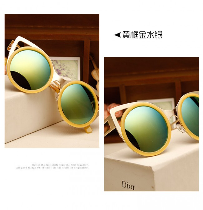 Best Sunglasses For Running Womens  women s round metal shades laser cut cat eye sunglasses