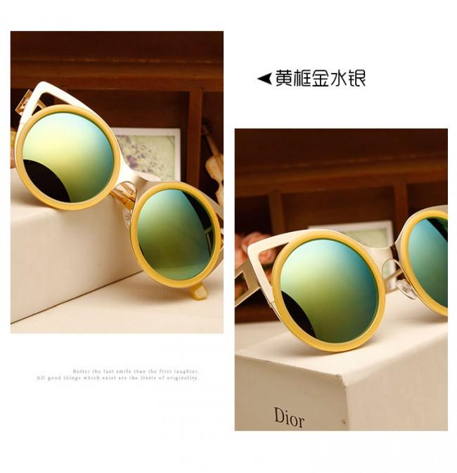 Best Sunglasses For Running Womens  women s round metal shades laser cut cat eye sunglasses