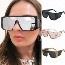 Geometric temple hip hop flat top aviator sunglasses