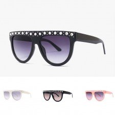 Stylish flat top round bottom crystal bling sunglasses