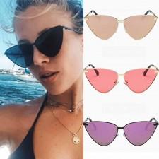 Oversized cat eye sunglasses high pointed flat lens