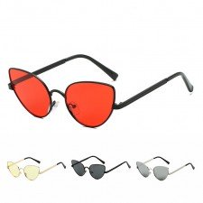 Cute retro thin wire rim cat-eye sunglasses metal frame