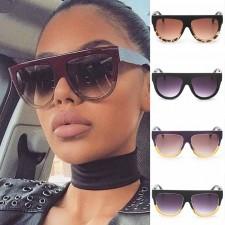Flat Top Circle Bottom Bold Frame Two Tones Sunglasses
