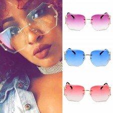 Oversize Rimless Sunglasses Women Fashion Gradient Lens