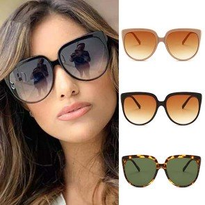 Gradient Tint Large Flat Top Oversized Dome Sunglasses
