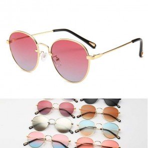 Gradient Tinted Multicolor Vintage Round Sunglasses
