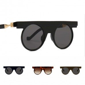 Retro glamour round sunglasses flat top vintage shades