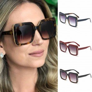 Square Shaped Womens Gold Rim Boxy Oversize Sunglasses