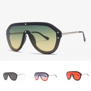 Oversize Frame One Piece Lens Aviator Shield Sunglasses