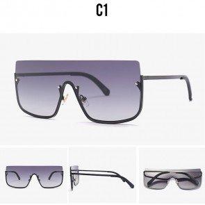 Oversize flat top shield lens metal aviator sunglasses