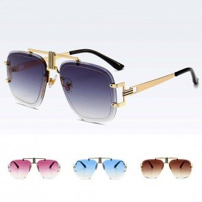 Rimless flat top aviator sunglasses sleek luxury shades