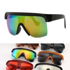Street Fashion Rimless Tear Drop Lens Shield Sunglasses