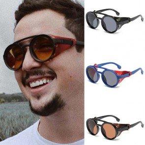 Vintage Steampunk Shades Side Shield Round Sunglasses