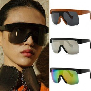 Street Fashion Rimless Tear Drop Lens Shield Sunglasses