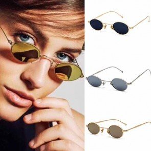 Retro round steampunk metal frame small oval sunglasses