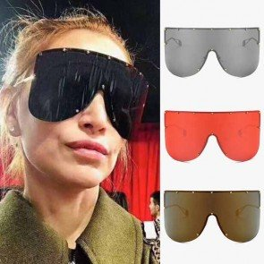 Oversize aviation one piece lens wrap around sunglasses