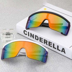 Neon Semi Rimless Rainbow Mirrored Lens Sunglasses