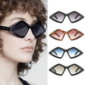Cute Rhombus Shaped Sunglasses w/ Bling Rhinestones