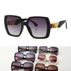 Unique Large Boxy Multicolor Frame Hexagon Sunglasses