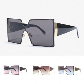 Futuristic Square One Piece Sunglasses Comfy Thick Legs