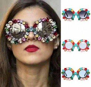 Round Rhinestone Sunglasses Metal Frame Crystal Shades