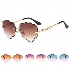 Rimless Faceted Lens Flower Shaped Cute Sunglasses