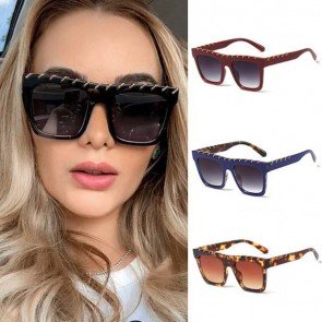 Oversized Square Trapezoid Flat Top Large Sunglasses