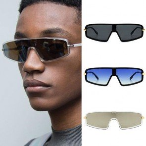 Futuristic shield sunglasses flat top mono lens
