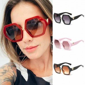 Oversized Heptagon Sunglasses Gold V Letter Temples