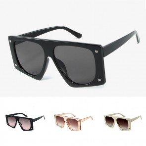 Flat top bold shield pentagon oversized sunglasses