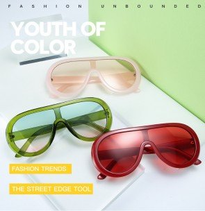 Modern Aviator Sunglasses One Piece Fresh Color Lens