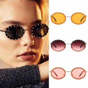 Metal arm bling stones round flat lens punk sunglasses