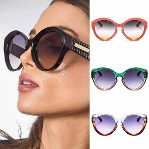 Vintage key hole bridge cute gradient round sunglasses