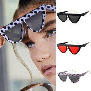 Flat top cat eye horned rim dome shaped sunglasses