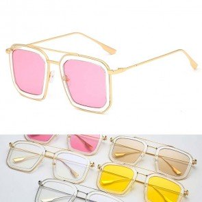 Clear Rim Candy Solid Tint Cute Square Sunglasses