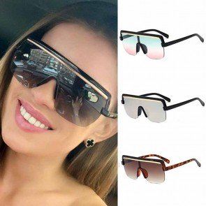 Cool futuristic flat top one piece aviator sunglasses