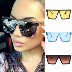 Flat Top Mask Frame Oversized One Piece Sunglasses