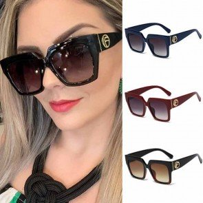 Oversize Frame Square Sunglasses Luxury Gold Tone Logo