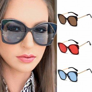 Flat lens Acetate Frame Oversized Cat Eye Sunglasses