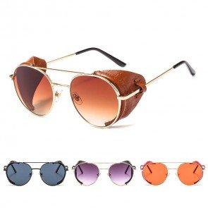 Retro festival punk sunglasses round lens side shield