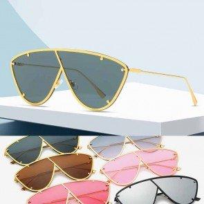Modern metal frame one piece lens aviator sunglasses