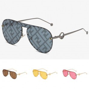 Aviator sunglasses metal frame letter printed mono lens