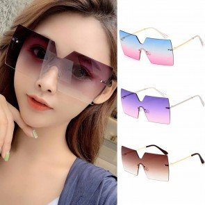Oversized Square Rimless Gradient One Piece Sunglasses